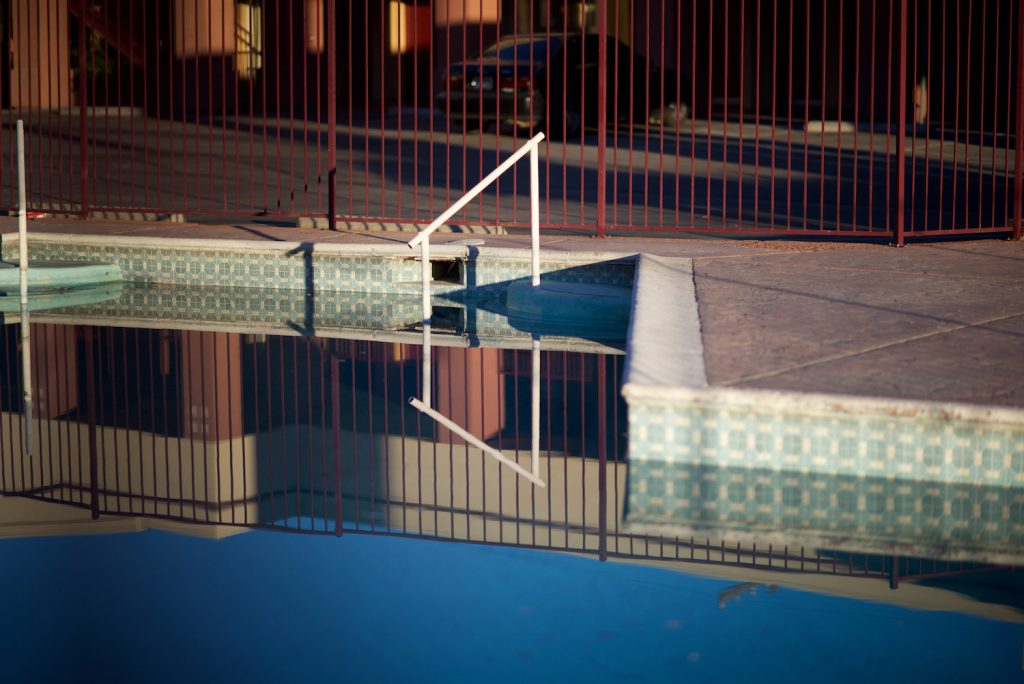 Motel Pool with Red Fence, 2014